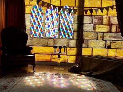 Medieval Party Decorations with DIY Stained Glass Windows & Castle Walls & Chandelier (HD)