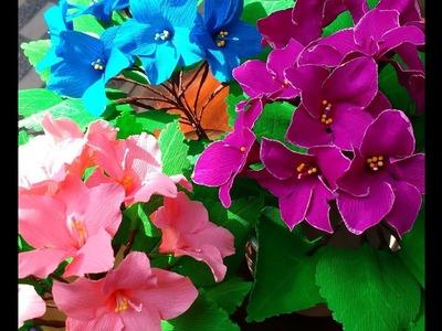 Paper Flowers Saintpaulia. African Violets (flower # 88)