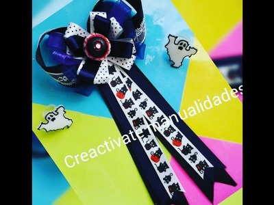 Tutorial de Moño boutique ColeteroFACIL.DIY Boutique bow for halloween.creactivate manualidades