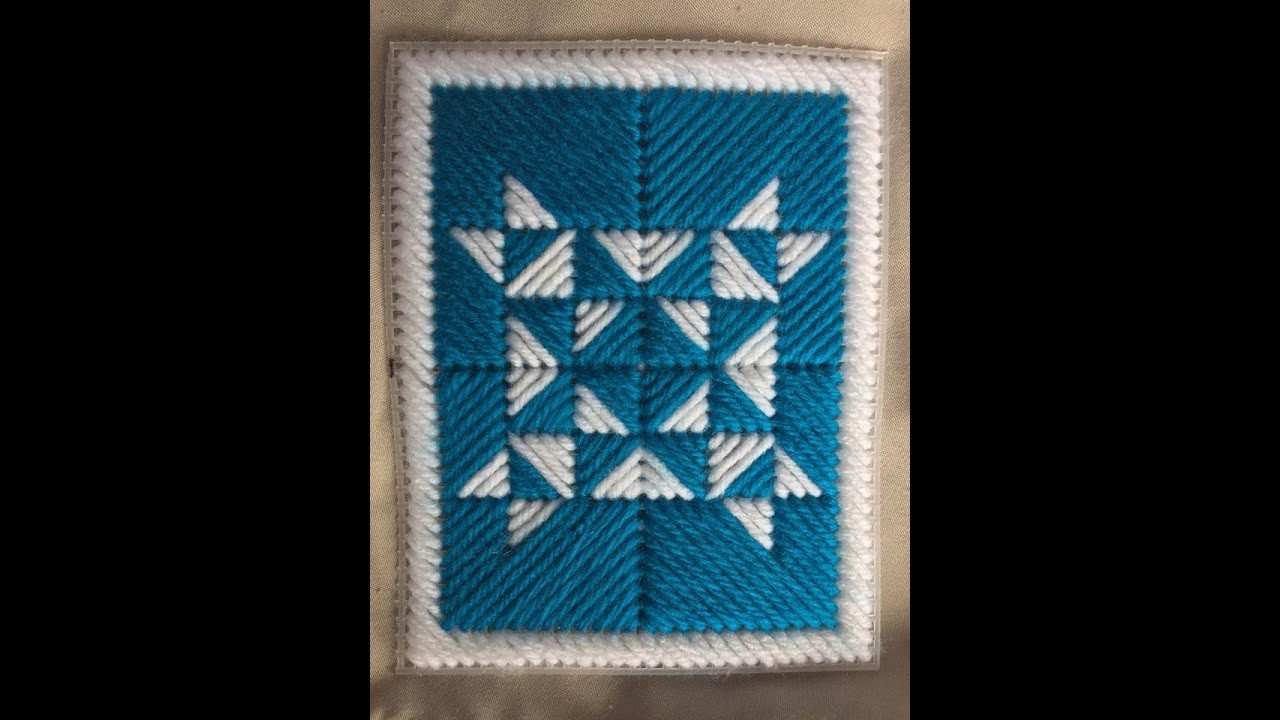 Blue Quilt Design Using Plastic Canvas Tutorial DIY How To