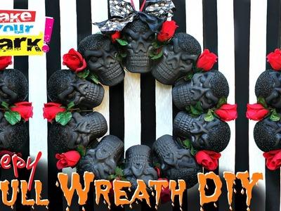 Creepy Halloween Skull Wreath DIY
