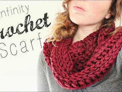 Crochet Infinity Scarf. Crochet Tutorial. Veronica Marie