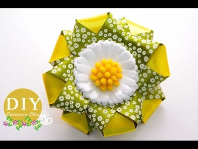 DIY Chamomile.Kanzashi Flower scrunchy.The Flower from the satin ribbon.The Flower DIY Tutorial