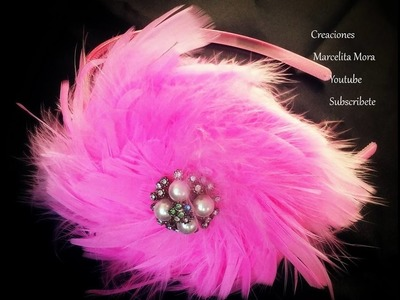 DIY. FLOR de plumas en diadema. DIY. FLOWER in FEATHER headband.