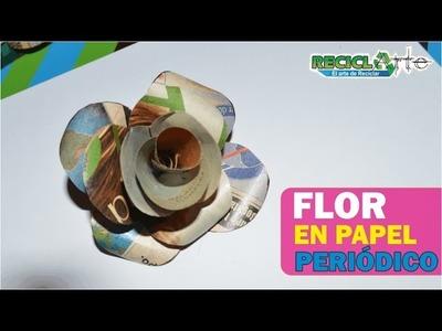 DIY♻ FLOR EN PAPEL DE REVISTA.  FLOWER IN PAPER MAGAZINE