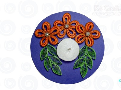 DIY: Handmade paper quilling floating Diwali Diya - candle holder - Enrivonment Friendly