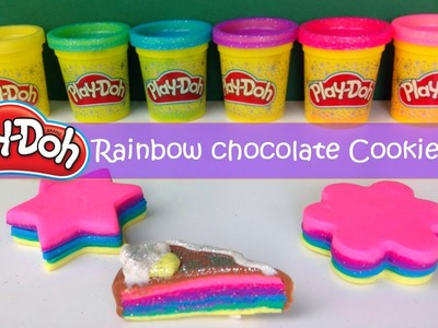 DIY How To Make Play Doh Modelling Clay Rainbow Chocolate Cookies
