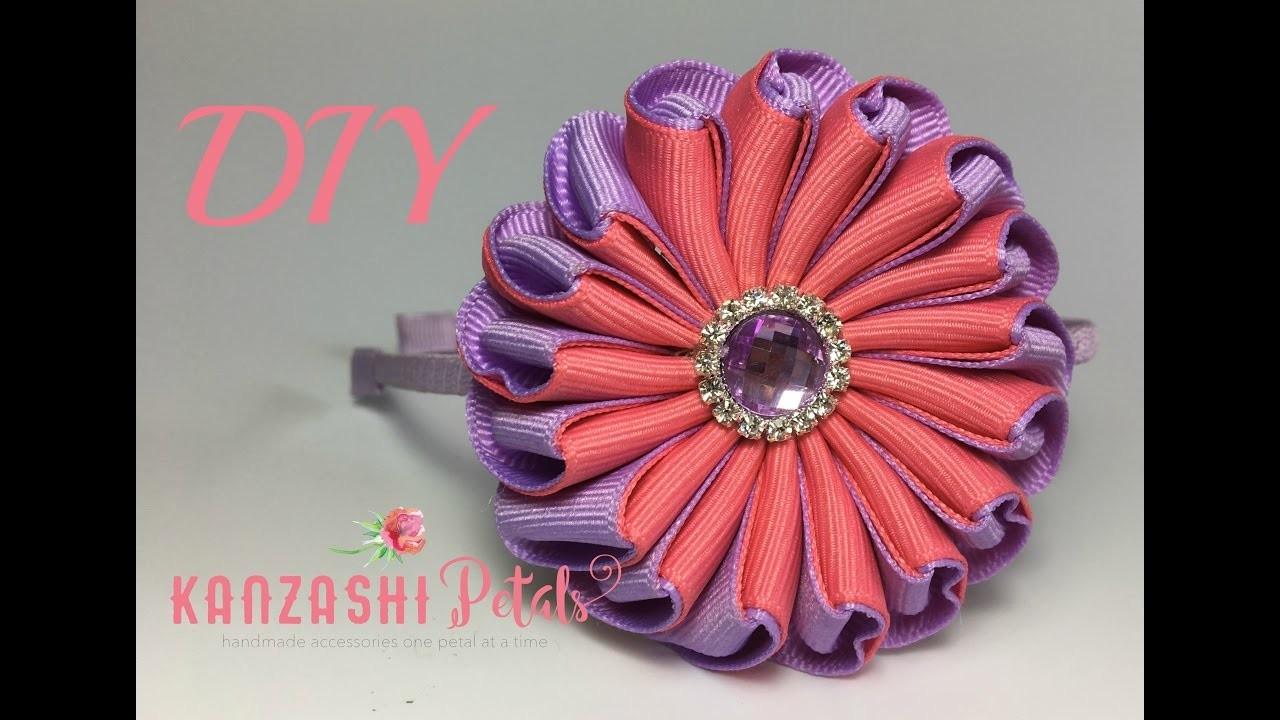 DIY Infinity ribbon flower. one piece ribbon flower tutorial