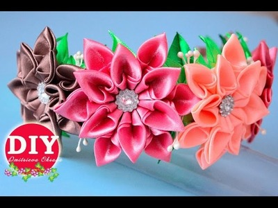 DIY.Kanzashi flower tutorial. Headrim Kanzashi.Satin Ribbon Flower