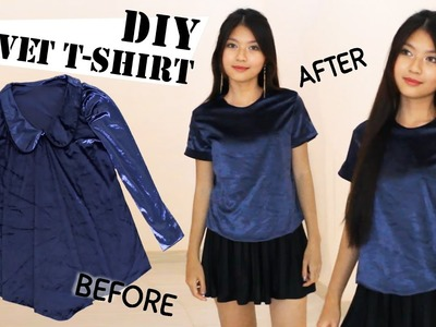 DIY Turn Old Dress Into T-Shirt | Velvet Tee | Clothes Transformation