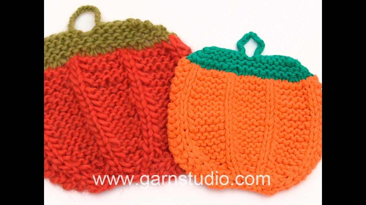 DROPS Crocheting Tutorial: How to knit  pumpkin pot holders for Halloween