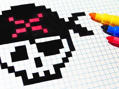 Halloween Pixel Art - How To Draw Pirate Skull #pixelart