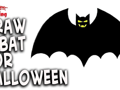 How to draw a halloween Vampire Bat - Easy Step by step
