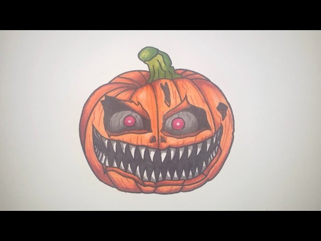 How To Draw A Scary Halloween Pumpkin Step By Step Fnaf Style