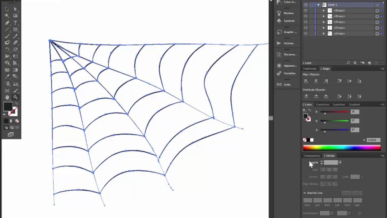 How to draw spider web for halloween card or invitation. Adobe illustrator tutorial