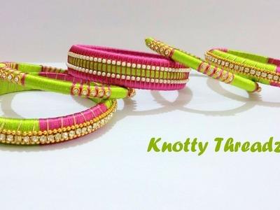 How to make a Designer Silk Thread Bangles Set at Home   Tutorial !!