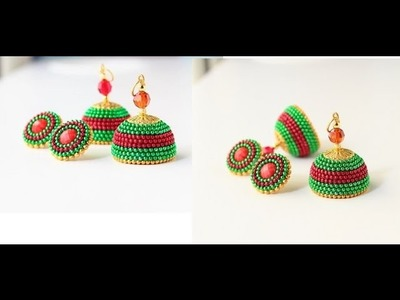 How to make Quilled party wear jhumka earrings.Paper quilled fancy jhumkas tutorial