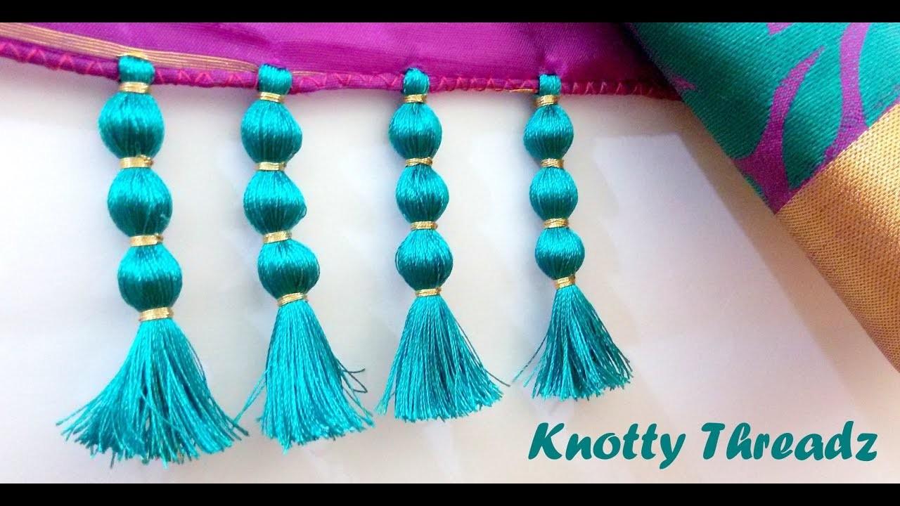 How To Make Saree Kuchu Design Using Silk Thread Beaded