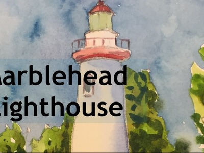 How to Paint a Lighthouse Marblehaed Ohio in Watercolor Tutorial Seascape Watercolour