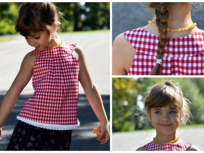 How to sew a round Yoke Dress. Top. Jumper - Kitty Pattern