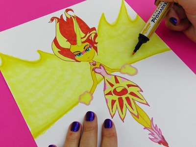 My Little Pony DIY How to Draw Sunset Shimmer Daydream Form! Coloring video for Kids