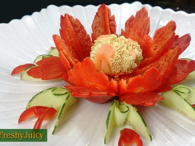 Bell Pepper Flower Carving Garnish - How To Make Chili Flower