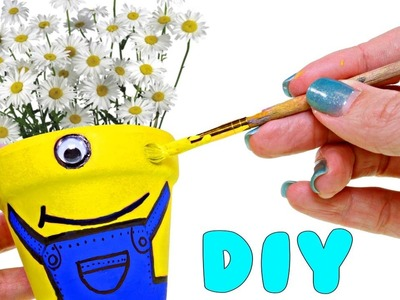 Decorating a Flower Pot as a Minion | How To Make Despicable Me DIY Crafts with DCTC