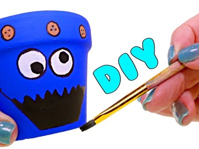 Decorating a Flower Pot as Cookie Monster | How To Make Sesame Street DIY Crafts with DCTC