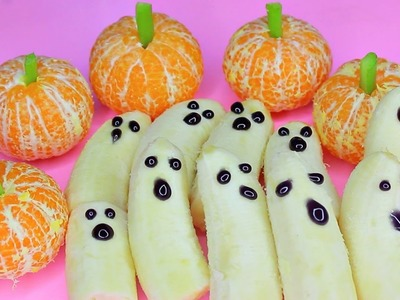 DIY Cute & Healthy Halloween Treats! Banana Ghosts and Mandarin Pumpkins!