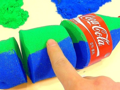 DIY How To Make Glitter Colors Kinetic Sand Coca Cola Toy | We Wish You A Merry Christmas kids songs