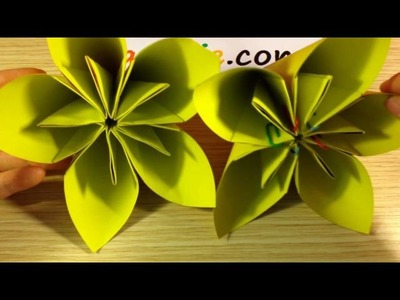 EASY origami flower and star Instructions - How to make origami flower and star