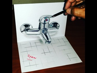 How to Draw shower mixer 3D illusion on paper | Dessin 3D | 3D Drawing