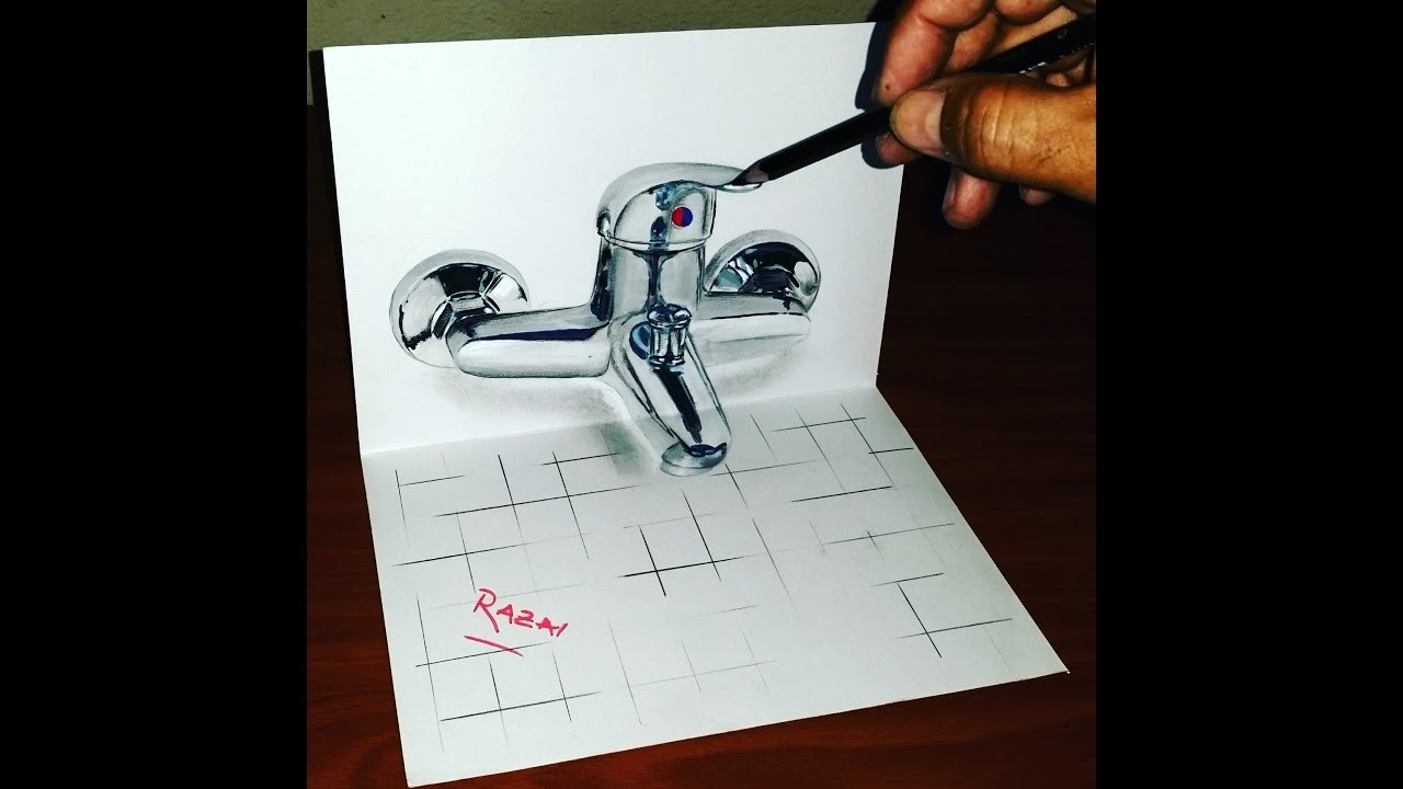 How To Draw Shower Mixer 3d Illusion On Paper Dessin 3d 3d Drawing