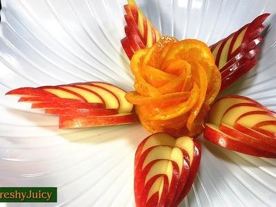 How To Make Orange Rose & Apple Leaf - Flower Carving Garnish & Turtorial