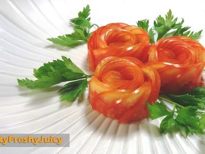 How To Make Tomato Rose Flower Garnish - Art In Vegetable & Fruit Carving & Design