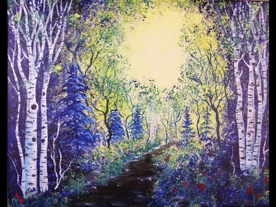 How to Paint Birch Trees in the Woods for Beginners ~ Acrylic