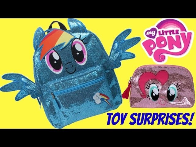 MY LITTLE PONY Backpack, Makeup Purse, Rainbow Dash, Pinkie Pie NEW Glittery Toy Surprises SHOPKINS