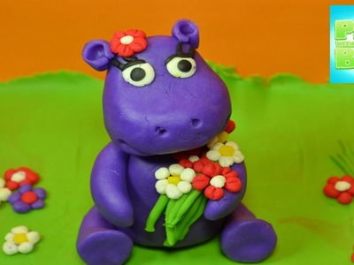 Playdough Tutorial How to make a playdoh Purple Hippo Rainbow Toy Review diy funny juguetes