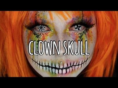 Rainbow Clown Skull Halloween Makeup Tutorial