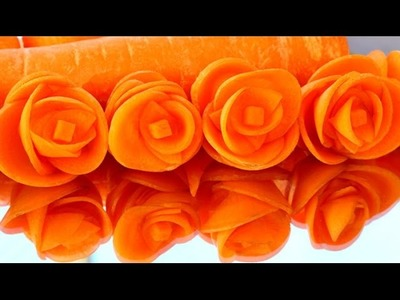 Step By Step: How It's Made Carrot Rose Flower | Vegetable Carving Garnish | Fruit Art Decoration