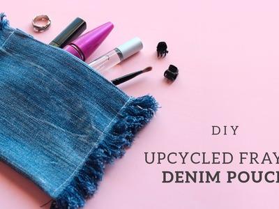Upcycled Frayed Denim Pouch  | Easy DIY