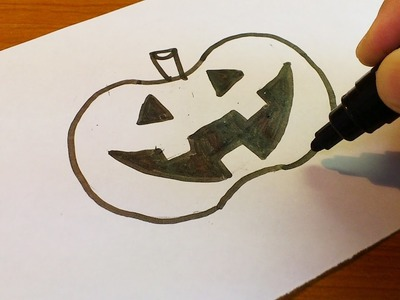Very Easy !  How to Draw a Halloween Jack O' Lantern 2016 - art on paper for kids