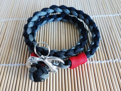4 Strand Round Braid with Snap Shackle Paracord Bracelet Tutorial