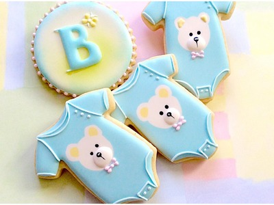 Baby onesie cookies. Baby shower.