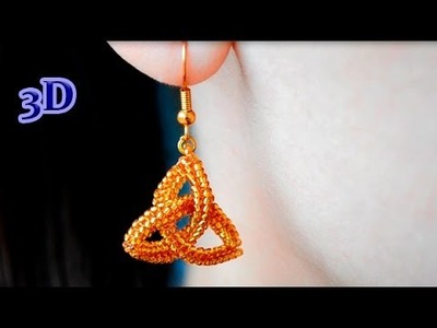 Beaded Earrings Celtic Knot Triquetra. 3D Beading Tutorial