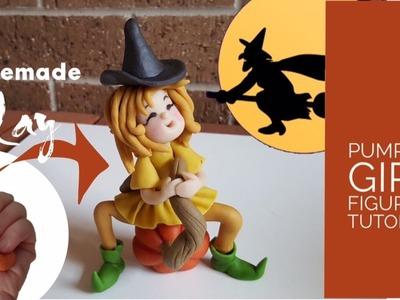 Cheap DIY Clay for Halloween Decorations - Pumpkin Girl Figurine