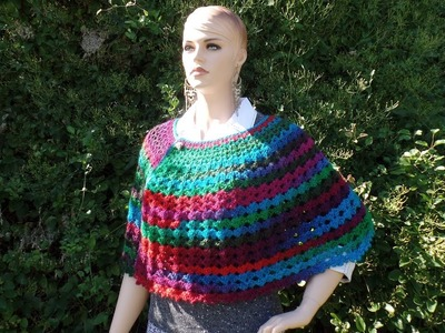 CROCHET How To #Crochet Easy Ladies V Stitch Shawl Cape Wrap TUTORIAL #346