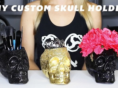 DIY Easy Skull Brush Holder Halloween Decoration