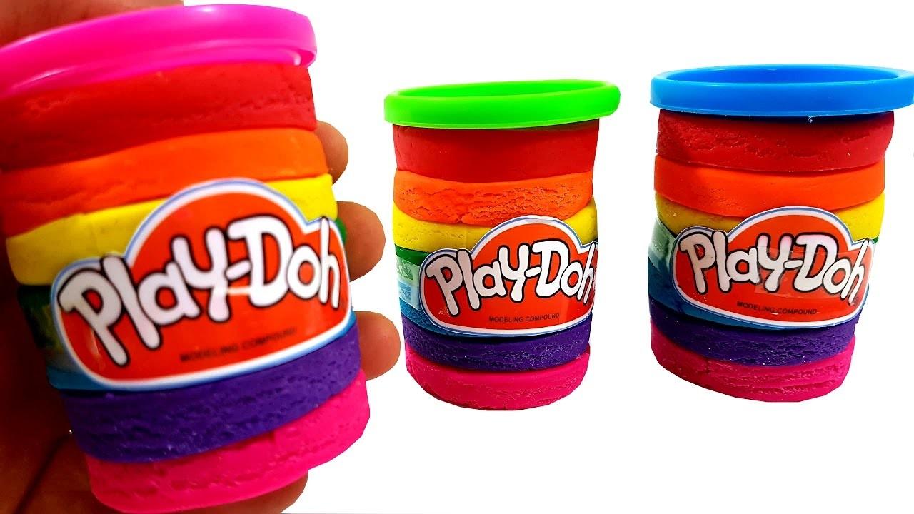 DIY Play Doh Rainbow Tubs Clay Surprise Toys