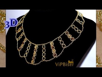 Sparkly Gold Beaded Necklace. 3D Beading Tutorial